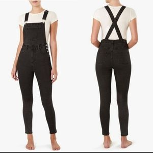WeWoreWhat High Rise Skinny Overalls Black SM